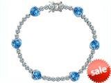 Original Star K™ Classic Heart Shape 7mm Simulated Blue Topaz Tennis Bracelet style: 304888