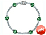 Original Star K™ Classic Heart Shape 7mm Simulated Emerald Tennis Bracelet style: 304890