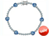Original Star K™ Classic Heart Shape 7mm Simulated Aquamarine Tennis Bracelet