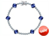 Original Star K™ Classic Cushion Cut 7mm Created Sapphire Tennis Bracelet