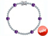 Original Star K™ Classic Round 6mm Genuine Amethyst Tennis Bracelet