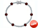 Original Star K™ Classic Round 6mm Genuine Garnet Tennis Bracelet