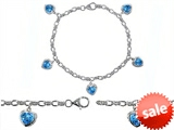 Original Star K™ High End Tennis Charm Bracelet With 5pcs 7mm Heart Shape Simulated Blue Topaz