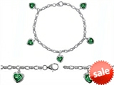Original Star K™ High End Tennis Charm Bracelet With 5pcs 7mm Heart Shape Simulated Emerald style: 304935