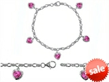 Original Star K™ High End Tennis Charm Bracelet With 5pcs 7mm Heart Shape Created Pink Sapphire