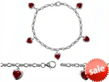 Original Star K™ High End Tennis Charm Bracelet With 5pcs 7mm Heart Shape Created Ruby