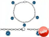 Original Star K™ High End Tennis Charm Bracelet With 5pcs 7mm Round Simulated Blue Topaz style: 304946