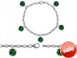 Original Star K™ High End Tennis Charm Bracelet With 5pcs 7mm Round Simulated Emerald style: 304949