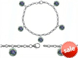 Original Star K™ High End Tennis Charm Bracelet With 5pcs 7mm Round Mystic Topaz