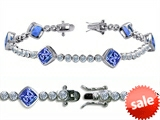 Original Star K™ High End Tennis Bracelet With 6pcs 7mm Cushion Cut Simulated Tanzanite