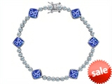 Original Star K™ Classic Cushion Cut 7mm Simulated Tanzanite Tennis Bracelet