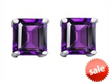 Original Star K™ Square 7mm Genuine Amethyst Earrings Studs style: 304979
