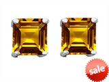 Original Star K™ Square 7mm Genuine Citrine Earrings Studs