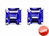 Original Star K™ Square 7mm Simulated Tanzanite Earrings