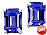 Original Star K™ 8x6mm Emerald Cut Simulated Tanzanite Earrings