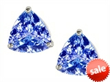 Original Star K™ Trillion 7mm Simulated Tanzanite Earring Studs