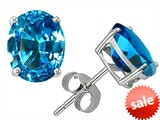 Original Star K™ Oval 8x6mm Simulated Blue Topaz Earrings Studs style: 304999