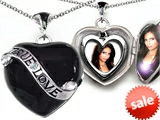 Original Star K™ Large Genuine True Love 2 Picture Heart Black Enamel Locket