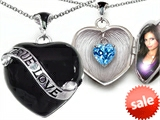 Original Star K™ True Love Black Enamel Locket With 7mm Heart Blue Topaz Surprise style: 305025