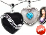 Original Star K™True Love Black Enamel Locket With 7mm Heart Simulated Aquamarine Surprise