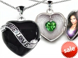 Original Star K™ True Love Black Enamel Locket With 7mm Heart Simulated Emerald Surprise
