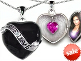 Original Star K™ True Love Black Enamel Locket With 7mm Heart Created Pink Sapphire Surprise