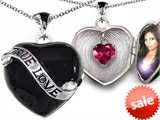 Original Star K™ True Love Black Enamel Locket With 7mm Heart Created Ruby Surprise style: 305032