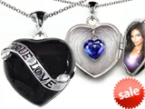Original Star K™True Love Black Enamel Locket With 7mm Heart Created Sapphire Surprise style: 305033