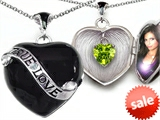 Original Star K™ True Love Black Enamel Locket With 7mm Heart Peridot Surprise style: 305034