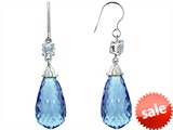 Original Star K™ Briolette Drop Cut Simulated Aquamarine Hanging Hook Chandelier Earrings