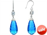 Original Star K™ Briolette Drop Cut Simulated Blue Topaz Hanging Hook Chandelier Earrings