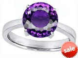 Original Star K™ Large Solitaire Big Stone Ring With 10mm Round Simulated Amethyst