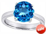 Original Star K™ Large Solitaire Big Stone Ring with 10mm Round Simulated Blue Topaz