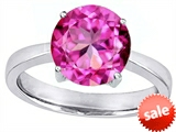 Original Star K™ Large Solitaire Big Stone Ring with 10mm Round Created Pink Sapphire style: 305085
