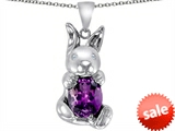 Original Star K™ Love Bunny Pendant With Simulated Amethyst Oval 10x8mm style: 305106