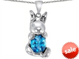 Original Star K™ Love Bunny Pendant With Simulated Blue Topaz Oval 10x8mm