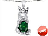 Original Star K™ Love Bunny Pendant with Simulated Emerald Oval 10x8