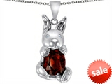 Original Star K™ Love Bunny Pendant With Simulated Garnet Oval 10x8 style: 305111