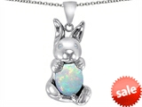 Original Star K™ Love Bunny Pendant With Created Opal Oval 10x8mm style: 305112