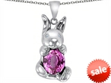 Original Star K™ Love Bunny Pendant with Created Pink Sapphire Oval 10x8mm