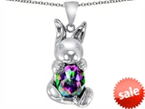 Original Star K™ Love Bunny Pendant with Multicolor Oval Mystic Topaz 10x8mm
