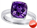 Original Star K™ Large 8mm Cushion Cut Solitaire Engagement Ring With Simulated Amethyst