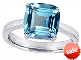 Original Star K™ Large 10mm Cushion Cut Solitaire Engagement Ring with Simulated Aquamarine