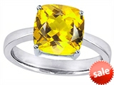 Original Star K™ Large 10mm Cushion Cut Solitaire Engagement Ring With Simulated Citrine