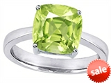 Original Star K™ Large 10mm Cushion Cut Solitaire Engagement Ring With Simulated Peridot