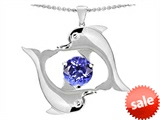 Original Star K™ Round 6mm Simulated Tanzanite Dolphin Pendant style: 305147