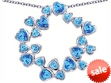 Original Star K™ Large Circle Of Love Pendant With 20 Simulated Blue Topaz Hearts