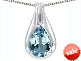 Original Star K™ Large 1inch Pear Shape Pendant with 14x10mm Simulated Aquamarine style: 305174