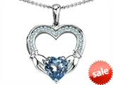 Celtic Love by Kelly Hands Holding 8mm Heart 1inch Claddagh Pendant With Simulated Aquamarine