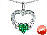 Celtic Love by Kelly Hands Holding 8mm Heart 1inch Claddagh Pendant With Simulated Emerald